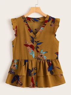 Schiffy Trim Puff Sleeve Floral Print Blouse – M.Mariano Schiffy Trim Puff Sleeve Floral Print Blouse V-neck Button Front Layer Ruffle Peplum Blouse Frock Fashion, Trend Fashion, Fashion Dresses, Plus Size Blouses, Plus Size Tops, Cute Blouses, Indian Blouse Designs, Fall Outfits, Modest Clothing