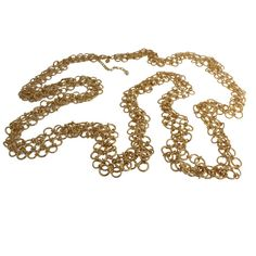 "qvc Gorgeous Joan Rivers Goldtone Golden Elegance 3 Row Link 60"" Necklace P379 #JoanRivers #Link"