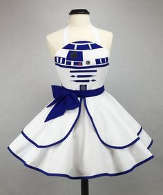 In Stock - Star Wars Inspired Handmade R2-D2 Apron - Full Circle Skirt Pin Up Cosplay Costume
