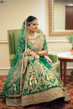 Looking for Offbeat green bridal lehenga? Browse of latest bridal photos, lehenga & jewelry designs, decor ideas, etc. on WedMeGood Gallery. Pakistani Wedding Outfits, Indian Bridal Outfits, Pakistani Dresses, Indian Dresses, Indian Clothes, Golden Bridal Lehenga, Indian Bridal Lehenga, Pakistani Bridal, Lehenga Wedding
