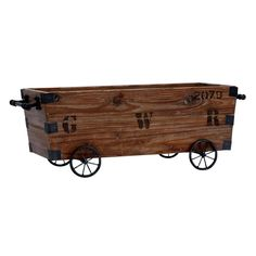 This rustic wooden cart is ideal for storage and decor. Made of wood and designed with a weathered look, this cart is both a rustic accent piece and a functional storage crate.