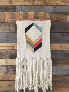 Large handmade woven wall art in ivory charcoal grey by SunWoven