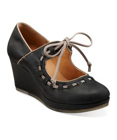 Take a look at this Black Vogue Blush Platform Wedge - Women by Clarks on #zulily today!