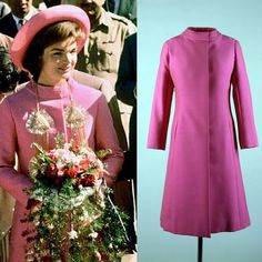 "First Lady Jackie Kennedy arrives in New Delhi, India on March 12, 1962. Jackie is wearing a bright pink silk and wool coat designed by Oleg Cassini. John Kenneth Galbraith, the United States Ambassador to India, described the color of the coat as ""radioactive pink""."