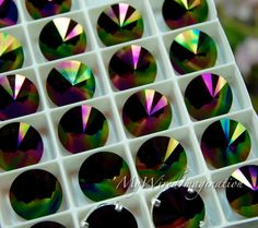 Swarovski Rainbow Dark, New for 2017, 12mm Rivoli 1122, Genuine Swarovski in Setting, Crystal in Settings, Sew On Rivoli, Rainbow Dark