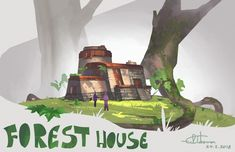 A design for a house in the middle of a forest of some very large trees. Forest House, Environment, Artwork, Fictional Characters, Design, Work Of Art, Auguste Rodin Artwork, Artworks