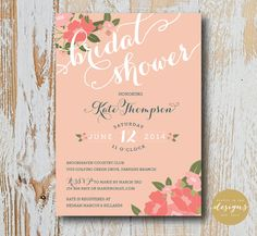 Pink Floral Calligraphy Bridal or Baby Shower Invitation on Etsy, $12.00