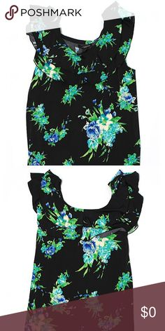 "EUC blue and green floral black top In excellent condition! Ruffle accents really kick this top up a notch. Would look great with jeans, pants or shorts. 34"" chest. 27"" long. 95% polyester. 5% spandex. Susan Lawrence Tops Blouses"