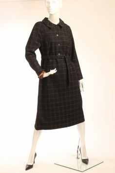 Vtg 50s 60s Marimekko Black Squared Print Wool Dress with Tie Belt