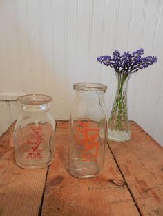 Vintage glass milk bottles by OhioWoodandIronWorks on Etsy, $7.00
