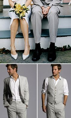 i like the bottom left groom -- grey suit white shirt no tie-- it looks so clean but put together