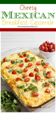 Easy to make breakfast casserole loaded with cheese, spices, tomatoes, and more! A real favorite. #ad - Eazy Peazy Mealz