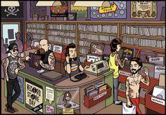 Phillip Marsden cartoon for Record Store Day
