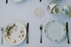 Mismatched plates and teacups <3