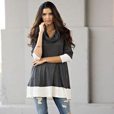 ❣LAST❣ Colorblock Tunic Cowl Loose Top Simply gorgeous! Brand new. Charcoal has small left Heather has small or large left Tops Blouses