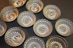 Ten Vintage Swirl Pattern Small Aluminum Molds Jello Molds