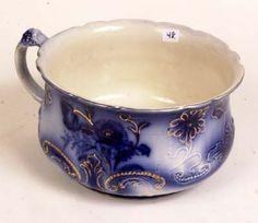 Antique Flow blue chamber pot