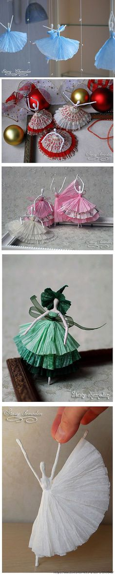 What charm) Balerinki from a wire and napkins. Leaf Crafts, Wire Crafts, Crafts To Do, Paper Crafts, Diy For Kids, Paper Dolls, Paper Flowers, Christmas Wreaths, Christmas Ideas