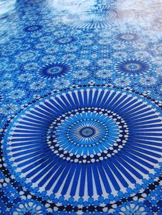 Beautiful blue mosaic floor!