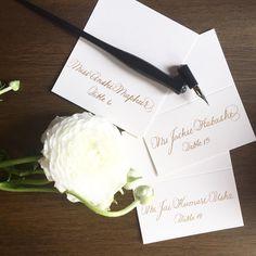 Saturday's classic gold and creams. @calligkatrina @nahidsglobalevents @langhampasadena #calligraphy #calligraphykatrina #gold #classic #luxury #weddings #losangeles #pasadena #pointedpen #curiouscalligrapher #lettering #love #instagood #instadaily