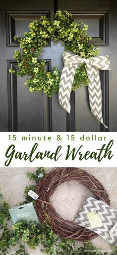 Easy Garland Wreath - only 15 minutes & 15 dollars! A classic green wreath is perfect for year-round use, and matches any decor. This easy garland wreath can be made in 15 minutes for 15 dollars! Double Door Wreaths, Summer Door Wreaths, Christmas Mesh Wreaths, How To Make Wreaths, Spring Wreaths, Winter Wreaths, Prim Christmas, Christmas Decorations, Holiday Decorating