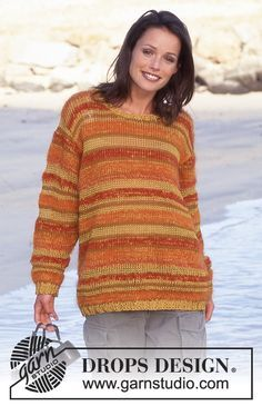 DROPS Sweater with stripes in 4 yarn types. Free pattern by DROPS Design.