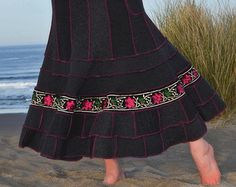 SALE! Sweater Skirt Women's Upcycled Clothing Gypsy Hippie Maxi Long Indian Embroidered Floral Trim Gray & Pink Handmade Pixie Felt Wool