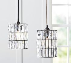 """PB Classic Adeline Crystal Pendant with bronze pole. 7""""d x 9.5"""" high.  Iron and crystal in bronze finish. $199 each.  ($400) to hang on each side of the beveled mirror. l #potterybarn"""