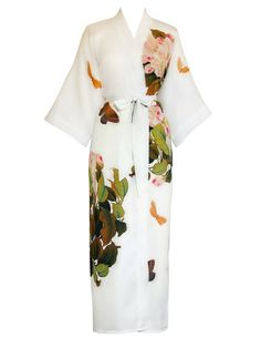 503ed59c0545 Kimono Robe - Printed (Long) - Peony   Butterfly - White Silk Bathrobe