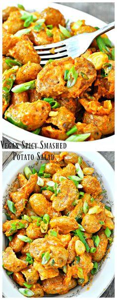 Vegan Spicy Smashed Potato Salad