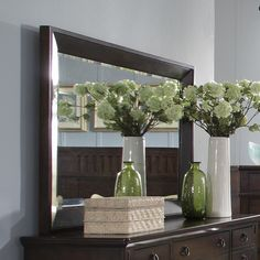 Rectangular+dresser+mirror+with+a+dark+brown+wood+frame.  +  Product:+Dresser+mirrorConstruction+Material:+Wood+a...