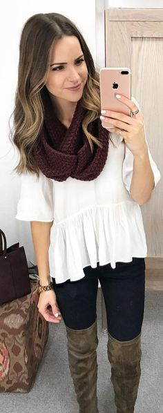 #winter #fashion / Brown Scarf / White Top / Black Skinny Jeans / Grey OTK Boots