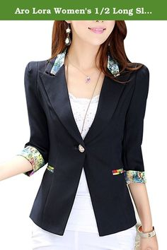 """Aro Lora Women's 1/2 Long Sleeve Slim Fitted Floral Print Casual Suit Jacket Blazer. This floral print blazer is slim fitted and it can wear both in formal and casual occasion. It can wear to work or wear to party. Size Chart: Size:(cm/inches) Small=US XXS/US 0 : Length:71CM/28.0"""" Bust:78CM/30.7"""" Shoulder:35CM/13.8"""" Waist:72CM/28.3"""" Sleeve Length:62CM/24.4"""" Medium=UUS XS/US 0-2: Length:72CM/28.3"""" Bust:80CM/31.5"""" Shoulder:36CM/14.2"""" Waist:76CM/29.9"""" Sleeve Length:63CM/24.8"""" Large=US S/US…"""