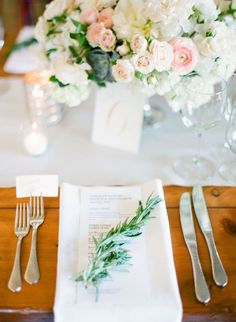 Planning and Design by: L'Relyea Events #place-settings  Photography: KT Merry - http://ktmerry.com  Read More: http://www.stylemepretty.com/2014/11/06/summer-winery-wedding-with-pops-of-pink/ #wedding #weddingphotography #photography #bride #groom #weddingplanner #sonomawedding #napawedding #lrelyeaevents #color #design #love #couple #newlyweds #pink #reception # dinner #rosemary
