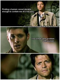 I love that this is an actual deleted scene. And the incomprehension on Castiel's face is priceless.