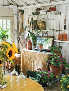 A ramshackle garage transformed into potting shed perfection