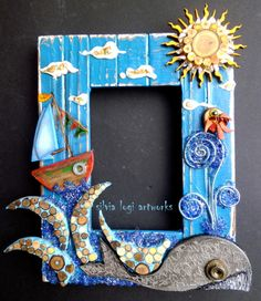 #photoframe #whale #boat #sun #wood #mosaic, see more on my FB https://www.facebook.com/pages/Silvia-Logi-Artworks/121475337893535?ref=br_rs