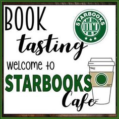 Starbooks Cafe Book Tasting Activity Event Set by It's Just Adam 3rd Grade Classroom, School Classroom, Classroom Themes, Classroom Organization, Teaching Themes, Up Book, Book Club Books, Book Clubs, Book Tasting