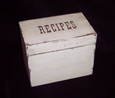 Shabby Chic - Cottage Chic - Recipe Box - Shabby Cottage Chic - 4x6 Wooden…