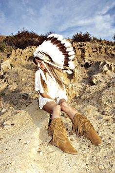 fringe boots white dress rocky desert indian chieftan hat feathers white brown