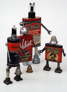 Tin trouble - gang of four Steampunk Robots, Arte Steampunk, Recycled Robot, Recycled Art, Repurposed, Found Object Art, Found Art, Sculpture Metal, Abstract Sculpture