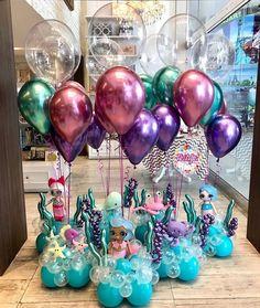 Balloon Display, Balloon Backdrop, Balloon Columns, Balloon Garland, Mermaid Party Decorations, Birthday Party Decorations, Party Themes, Themed Parties, Balloon Arrangements