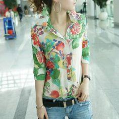 $11.16 Stylish Shirt Collar Printed 1/2 Sleeve Chiffon Blouse For Women