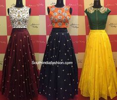 Designer Long Skirts and Crop Tops by Ashwini Reddy – South India Fashion Choli Designs, Lehenga Designs, Blouse Designs, Lengha Design, Indian Gowns Dresses, Indian Outfits, Ethnic Outfits, Indian Clothes, Pakistani Clothing