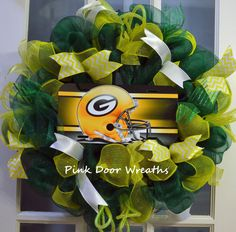 Made to Order - Wreath Door NFL GREEN BAY Packers Yellow Gold Green sign football any team ribbons mesh on Etsy, $55.00