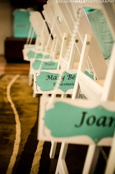 Custom Name tags for each chair at the Jasmine's Tiffany Bridal Shower