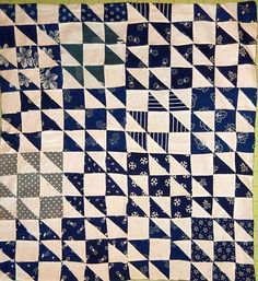Vintage, Antique Indigo Doll Quilt, c. interesting 9 patch design with HST alternating central colour and direction Old Quilts, Antique Quilts, Small Quilts, Mini Quilts, Vintage Quilts, Crib Quilts, Antique Crib, Primitive Quilts, Scrappy Quilts