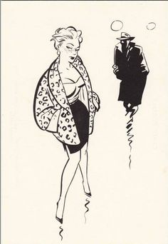 Retro Illustration, Black And White Illustration, Ink Illustrations, Cartoon Drawings, Art Drawings, Ligne Claire, Bd Comics, Amazing Drawings, Pin Up Art