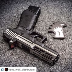 #Repost @lone_wolf_distributors  Phasers on STUN. This GEN 4 G22 received the stunner treatment with our custom machine pattern #7 race cut mount for a @VortexOptics Venom RDS and a two-tone polish job to finish it off. The mag extension pictured is an Arredondo 5. If you like what you see or if you have something different in mind just give us a shout and we can make it happen.  #LoneWolfDist #glock #tactical #grip #texturing #serrations #pewpew #glockbarrels #glockslides #glockframes #glocktriggers #timberwolf #lonewolfdistributors #10mm #customguns #machinepattern7 #arrredondo #G20 #g21 #glock22 Custom Glock, Custom Guns, Glock 22, Lone Wolf, Wolf Tattoos, Handgun, Tactical Gear, Airsoft, Loki