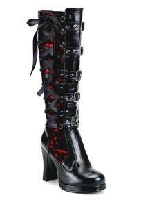 Black Women's 4 Inch Heel Buckled Knee Boot With Side Corset Red Lace-Up Detail